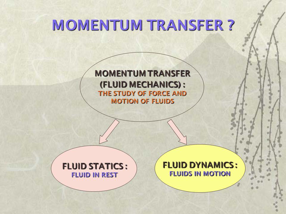 MOMENTUM TRANSFER MOMENTUM TRANSFER (FLUID MECHANICS) :