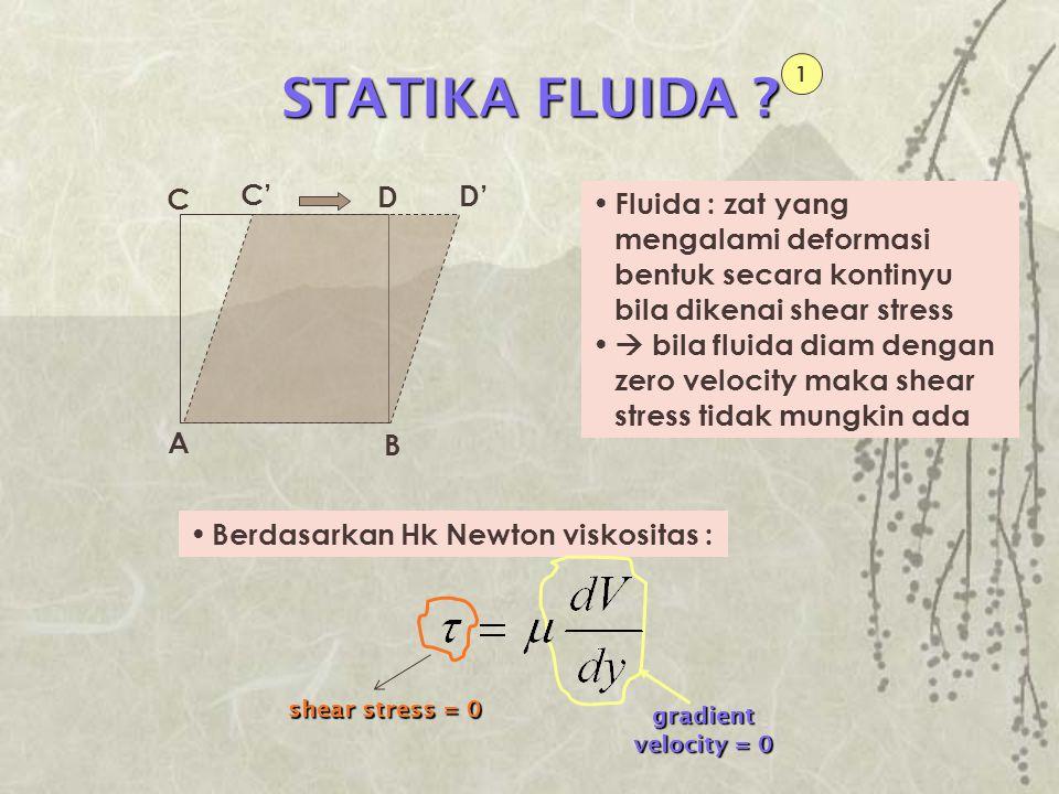 STATIKA FLUIDA 1. A. D. C. C' D' Fluida : zat yang mengalami deformasi bentuk secara kontinyu bila dikenai shear stress.