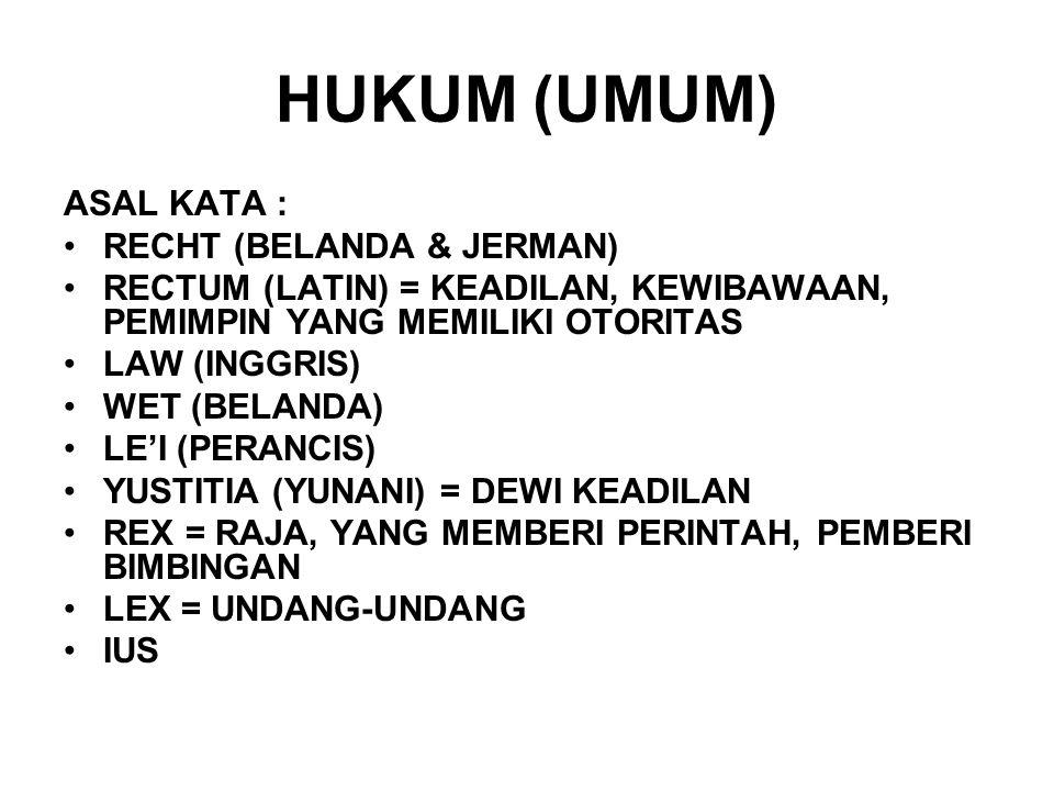HUKUM (UMUM) ASAL KATA : RECHT (BELANDA & JERMAN)