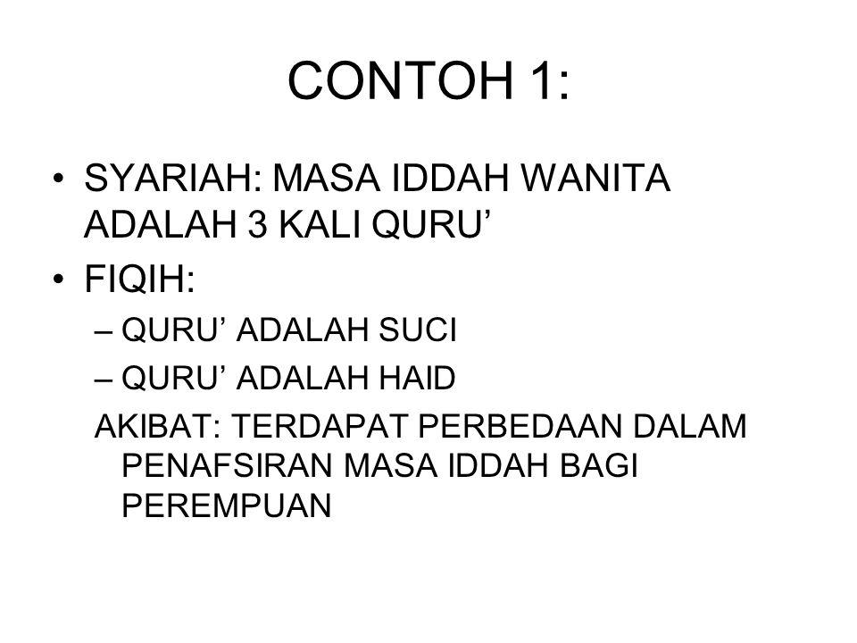 CONTOH 1: SYARIAH: MASA IDDAH WANITA ADALAH 3 KALI QURU' FIQIH: