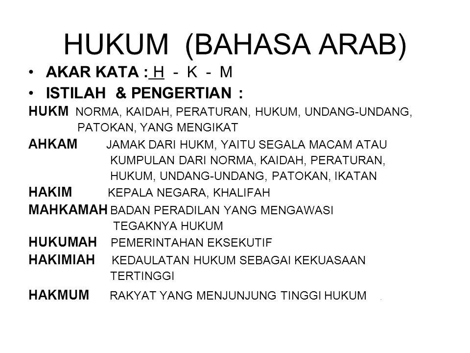 HUKUM (BAHASA ARAB) AKAR KATA : H - K - M ISTILAH & PENGERTIAN :