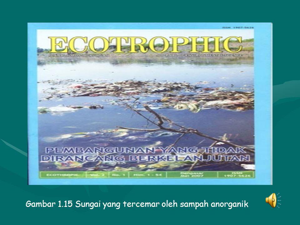 Gambar 1.15 Sungai yang tercemar oleh sampah anorganik