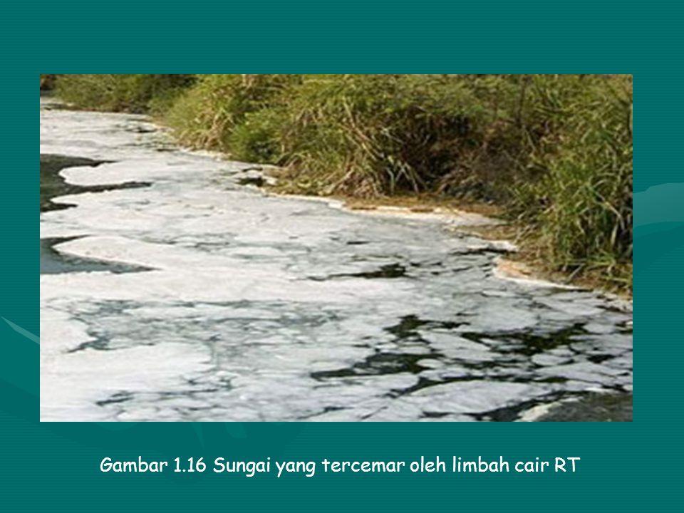 Gambar 1.16 Sungai yang tercemar oleh limbah cair RT