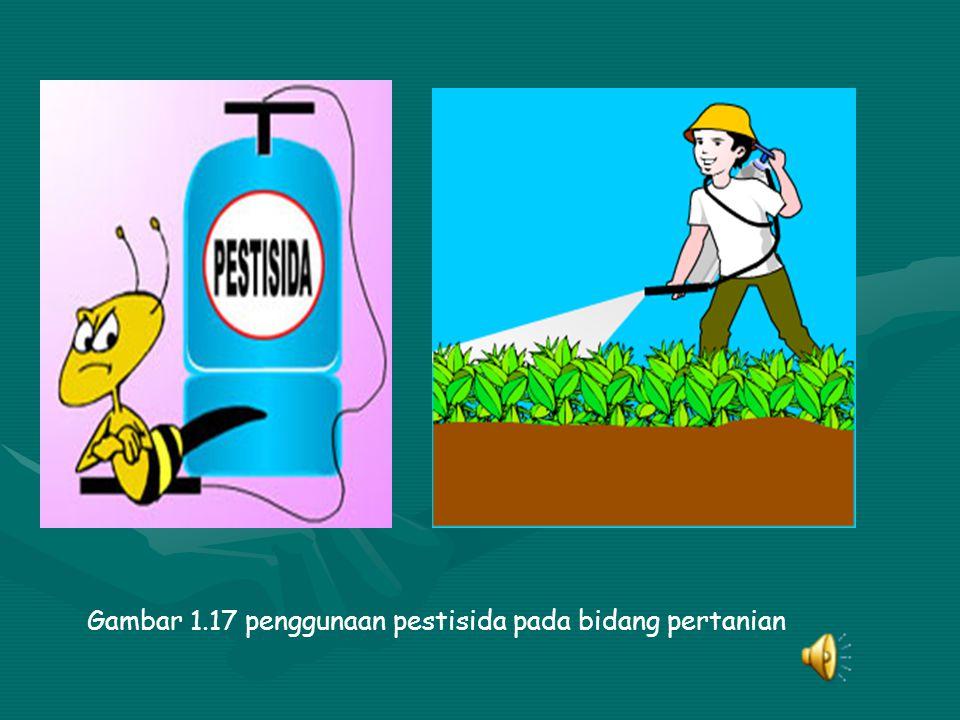 Gambar 1.17 penggunaan pestisida pada bidang pertanian