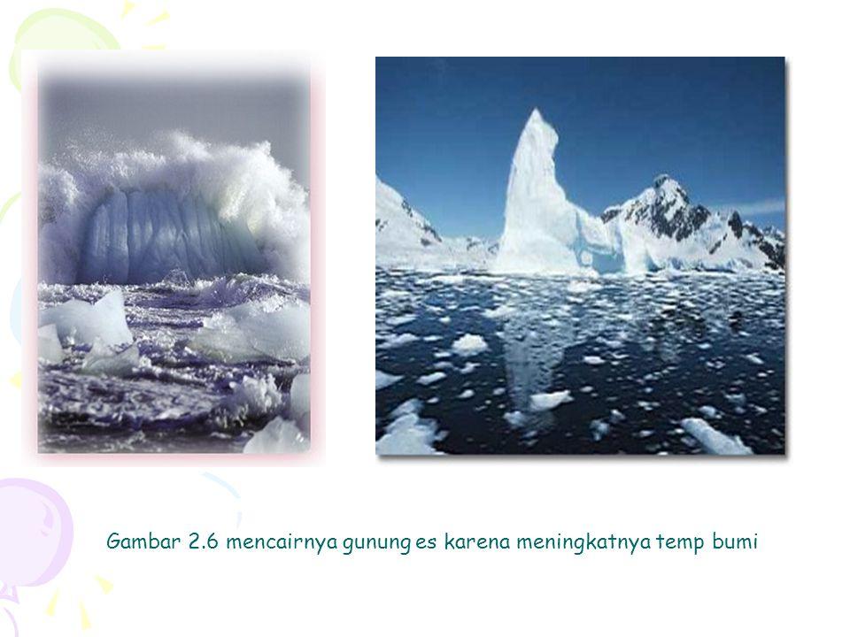 Gambar 2.6 mencairnya gunung es karena meningkatnya temp bumi