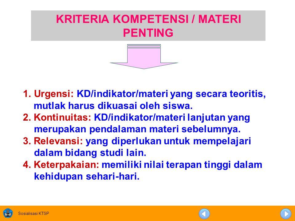 KRITERIA KOMPETENSI / MATERI PENTING