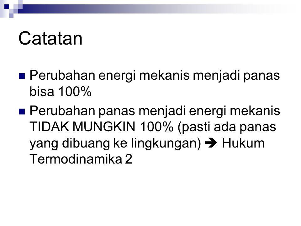 Catatan Perubahan energi mekanis menjadi panas bisa 100%