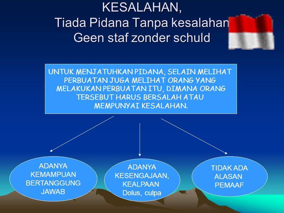 KESALAHAN, Tiada Pidana Tanpa kesalahan, Geen staf zonder schuld