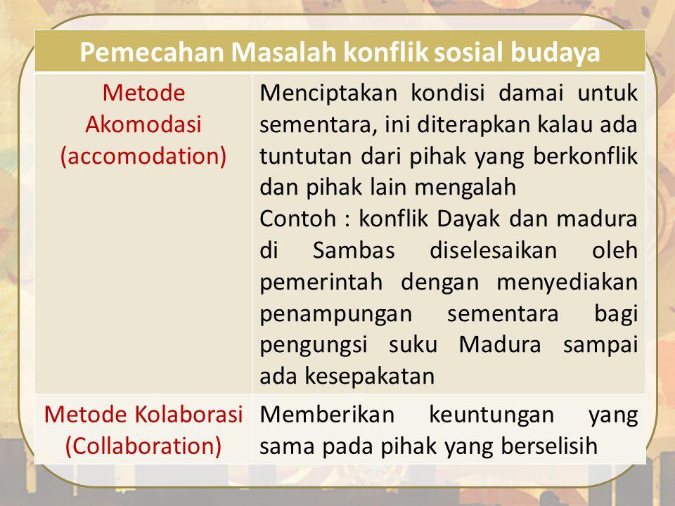 Pemecahan Masalah konflik sosial budaya