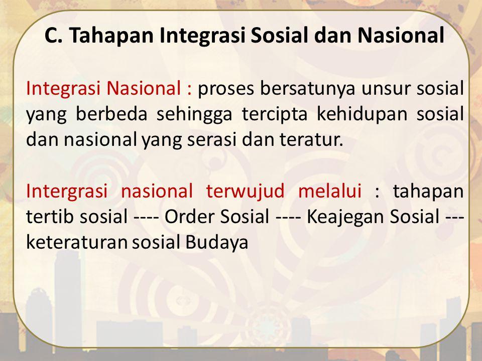 C. Tahapan Integrasi Sosial dan Nasional