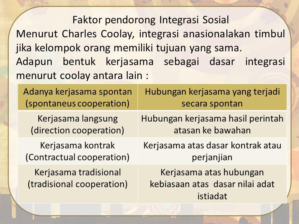 Faktor pendorong Integrasi Sosial