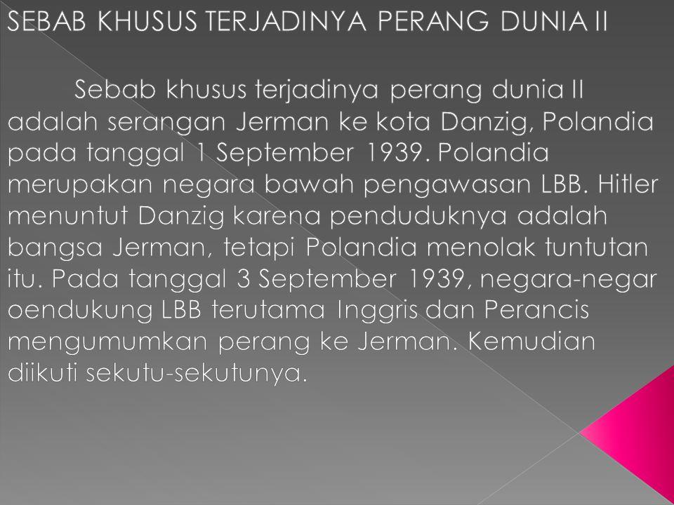 SEBAB KHUSUS TERJADINYA PERANG DUNIA II