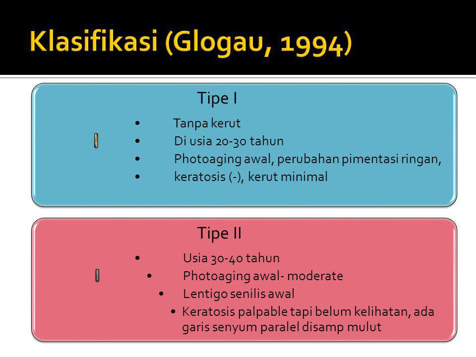 Klasifikasi (Glogau, 1994) Tipe I Tipe II Tanpa kerut