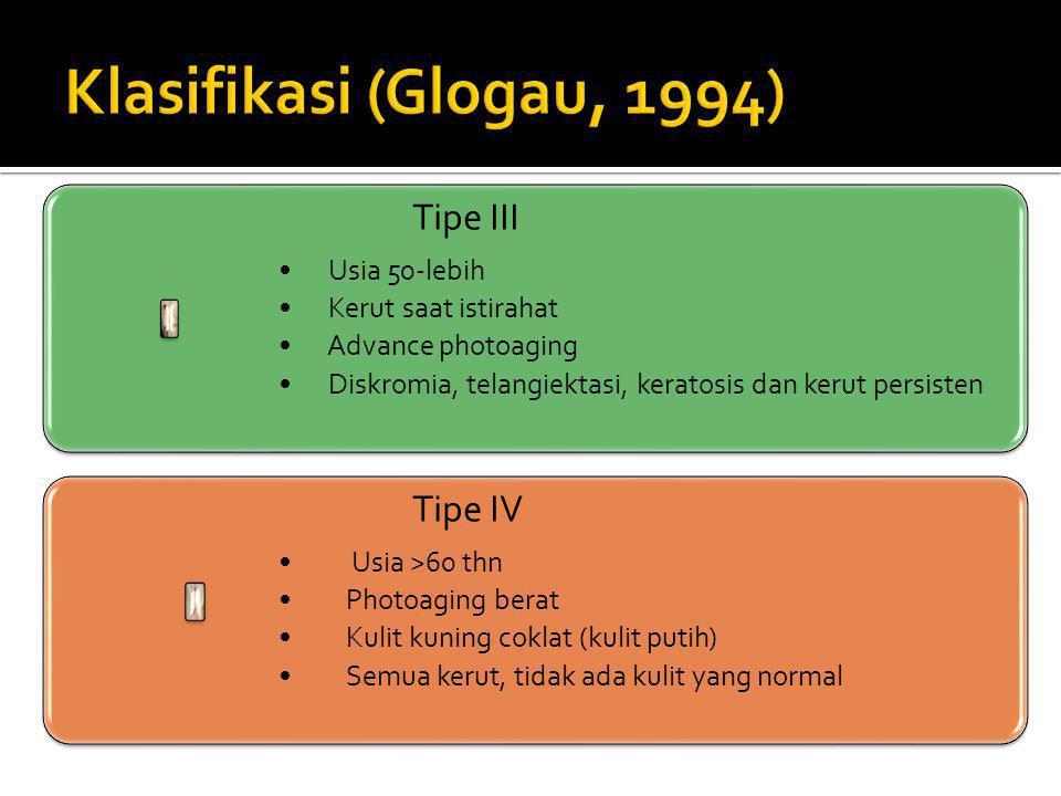Klasifikasi (Glogau, 1994) Tipe III Tipe IV Usia 50-lebih