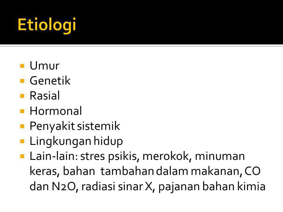 Etiologi Umur Genetik Rasial Hormonal Penyakit sistemik