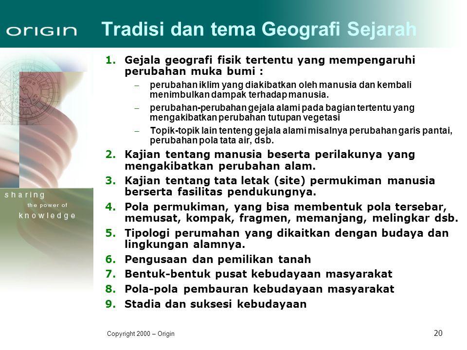 Tradisi dan tema Geografi Sejarah