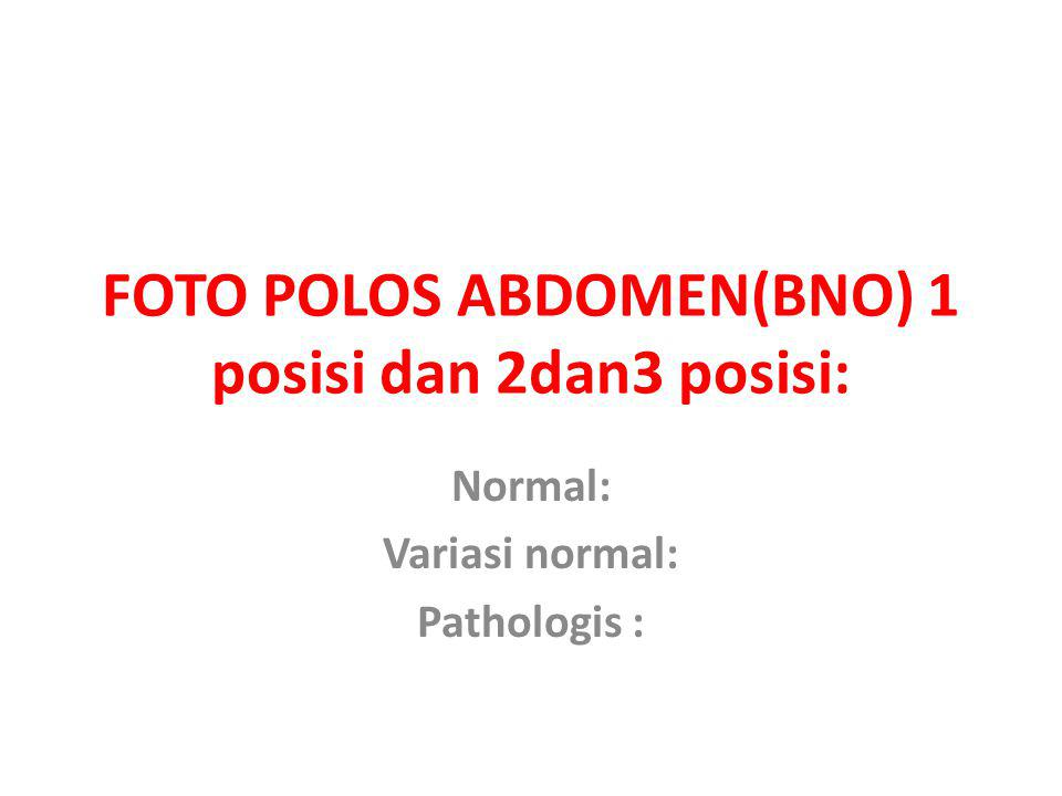 FOTO POLOS ABDOMEN(BNO) 1 posisi dan 2dan3 posisi: