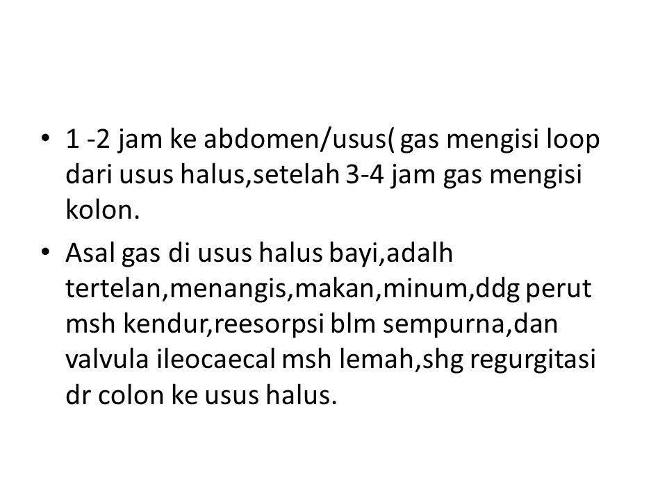 1 -2 jam ke abdomen/usus( gas mengisi loop dari usus halus,setelah 3-4 jam gas mengisi kolon.