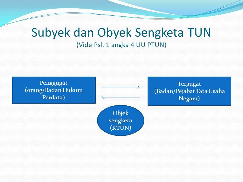 Subyek dan Obyek Sengketa TUN (Vide Psl. 1 angka 4 UU PTUN)