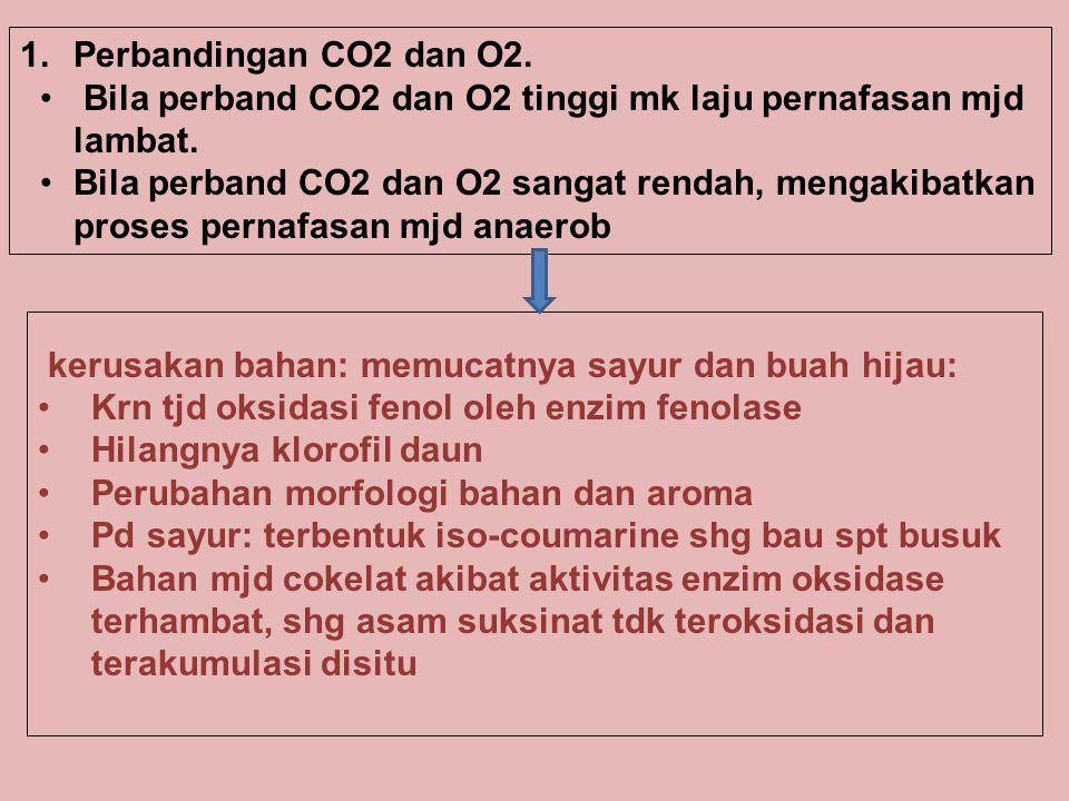 Perbandingan CO2 dan O2. Bila perband CO2 dan O2 tinggi mk laju pernafasan mjd lambat.