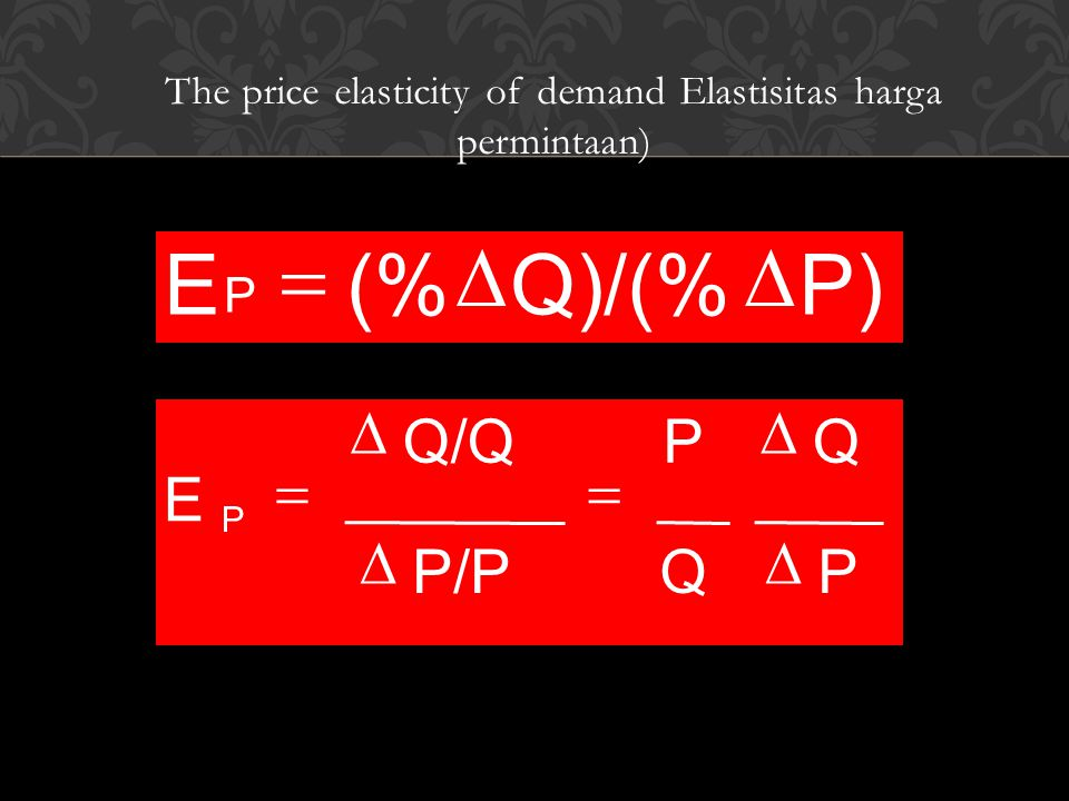 The price elasticity of demand Elastisitas harga permintaan)