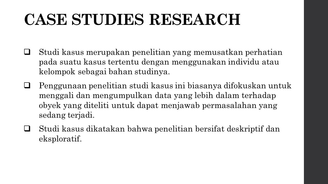 CASE STUDIES RESEARCH