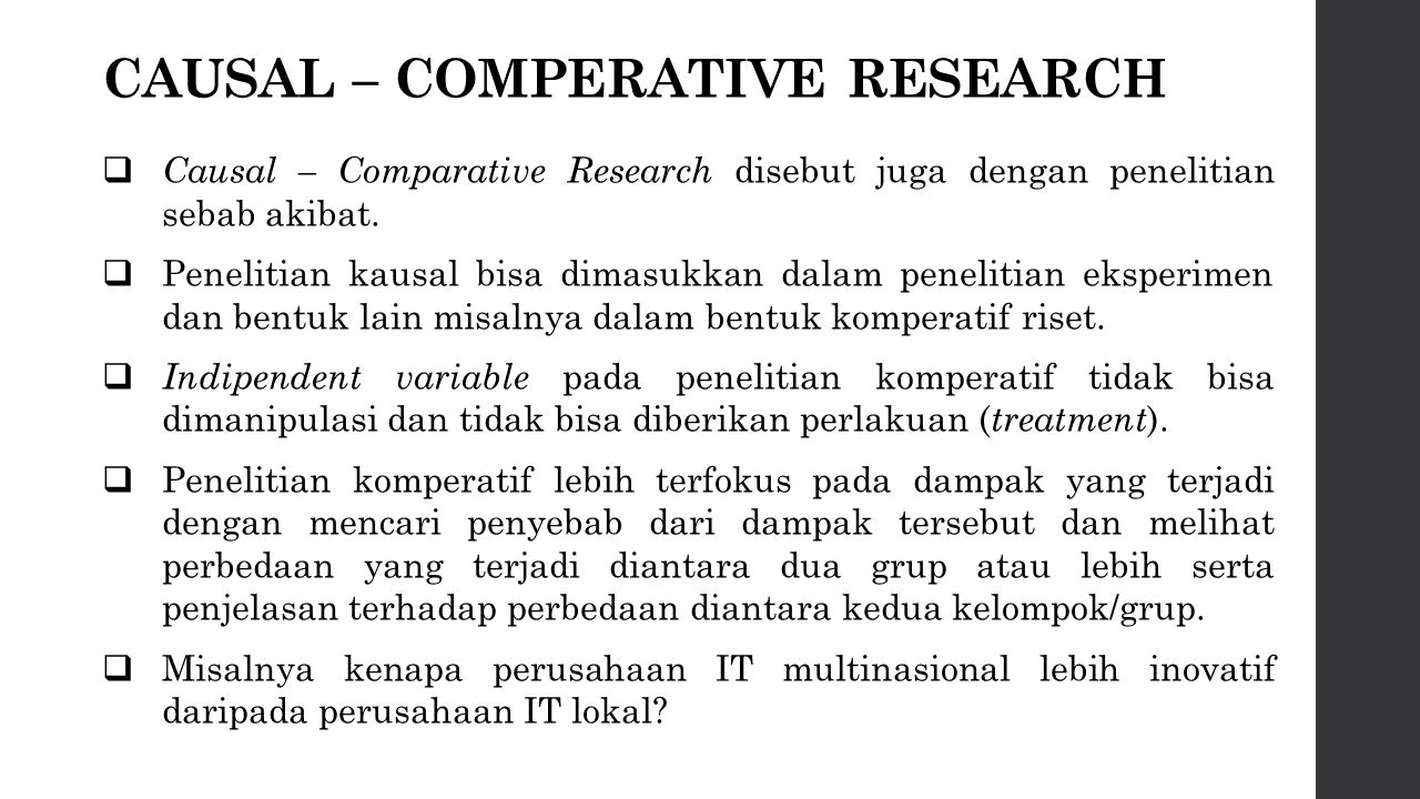 CAUSAL – COMPERATIVE RESEARCH