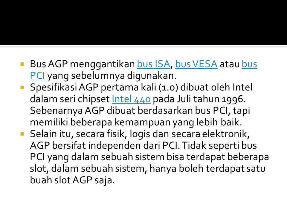 Bus AGP menggantikan bus ISA, bus VESA atau bus PCI yang sebelumnya digunakan.