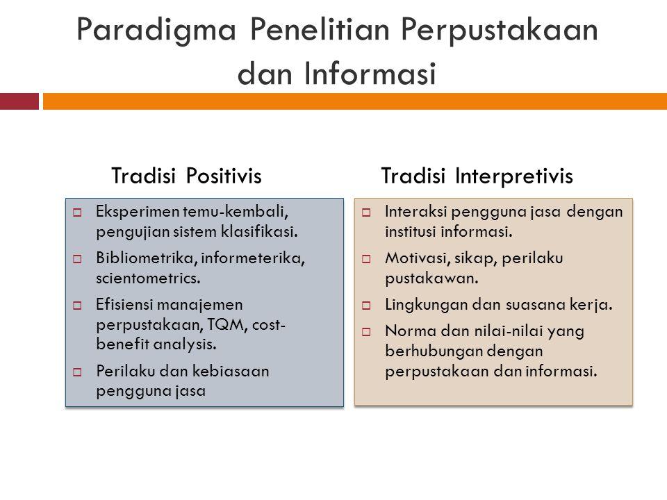 Paradigma Penelitian Perpustakaan dan Informasi