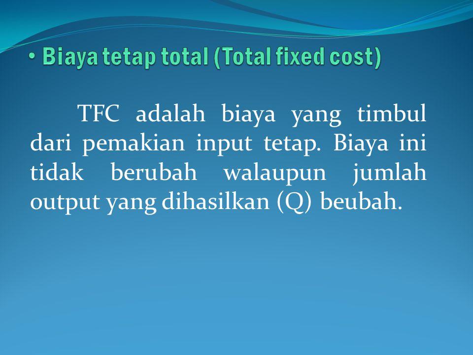 Biaya tetap total (Total fixed cost)