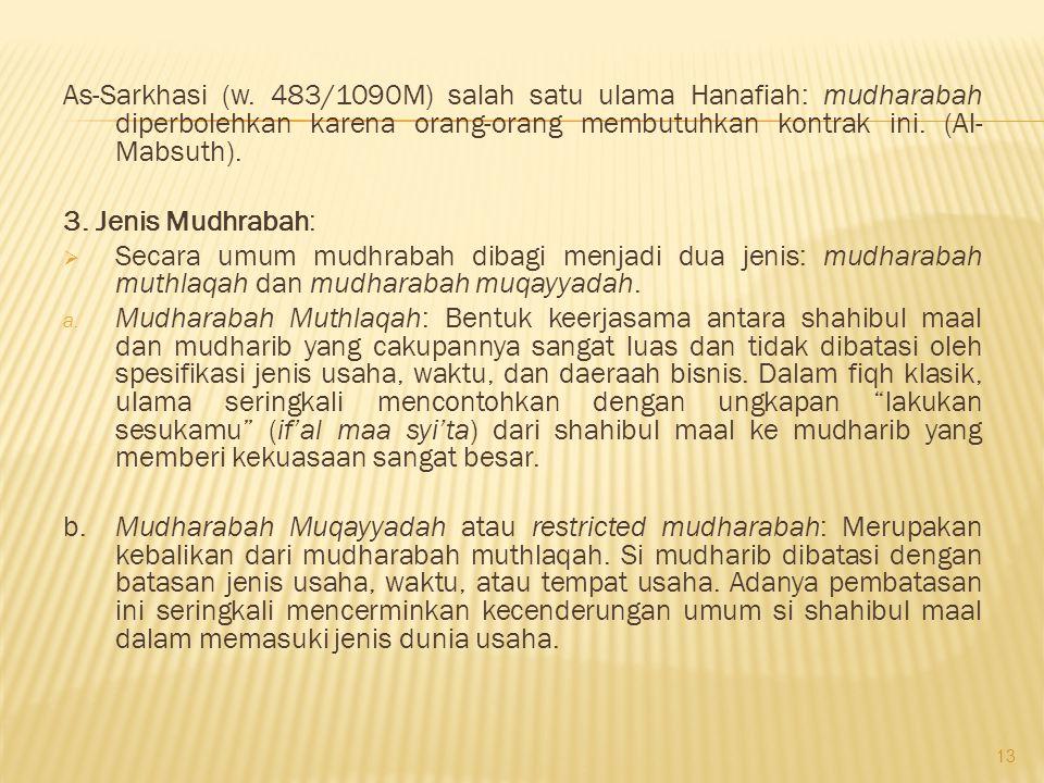 As-Sarkhasi (w. 483/1090M) salah satu ulama Hanafiah: mudharabah diperbolehkan karena orang-orang membutuhkan kontrak ini. (Al-Mabsuth).
