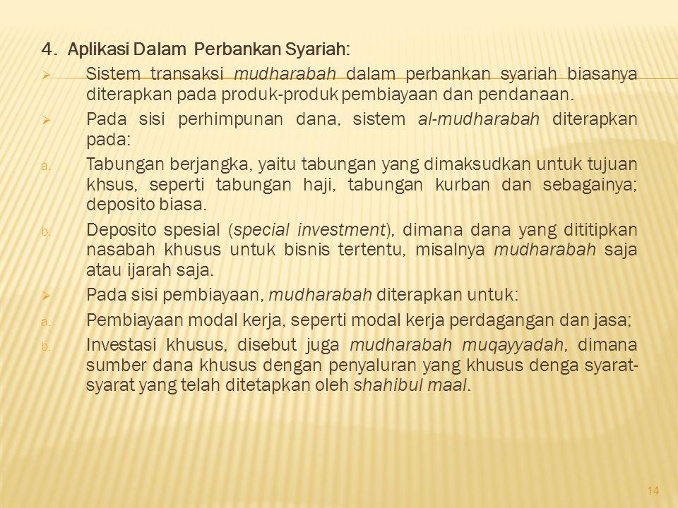 4. Aplikasi Dalam Perbankan Syariah: