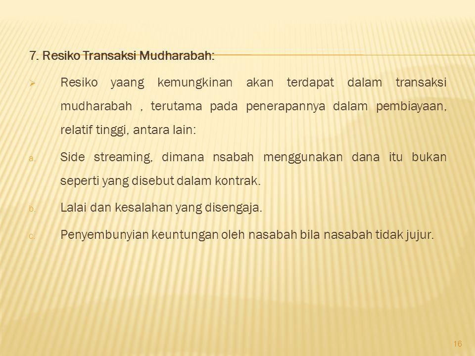 7. Resiko Transaksi Mudharabah: