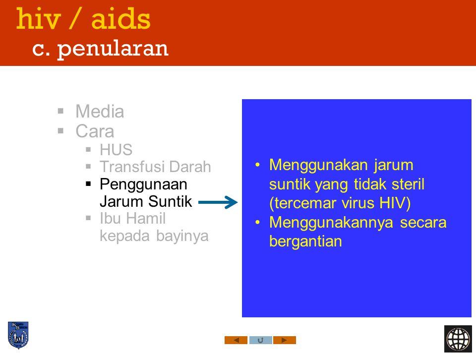 hiv / aids c. penularan Media Cara HUS