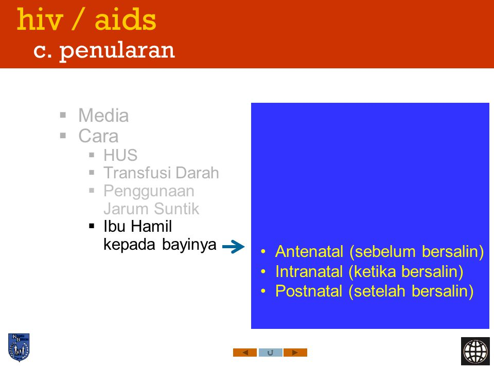 hiv / aids c. penularan Media Cara HUS Transfusi Darah