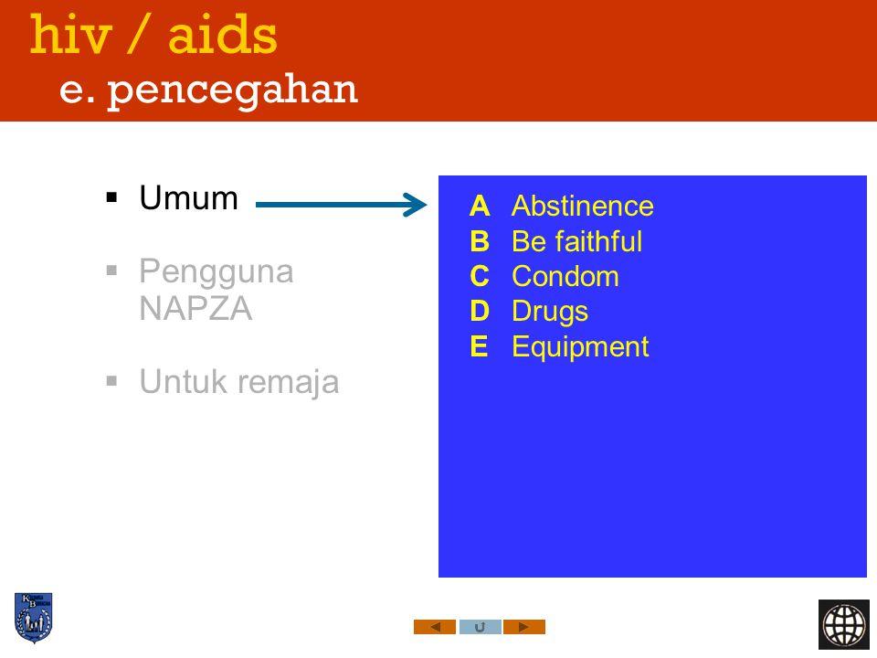 hiv / aids e. pencegahan Umum Pengguna NAPZA Untuk remaja A Abstinence