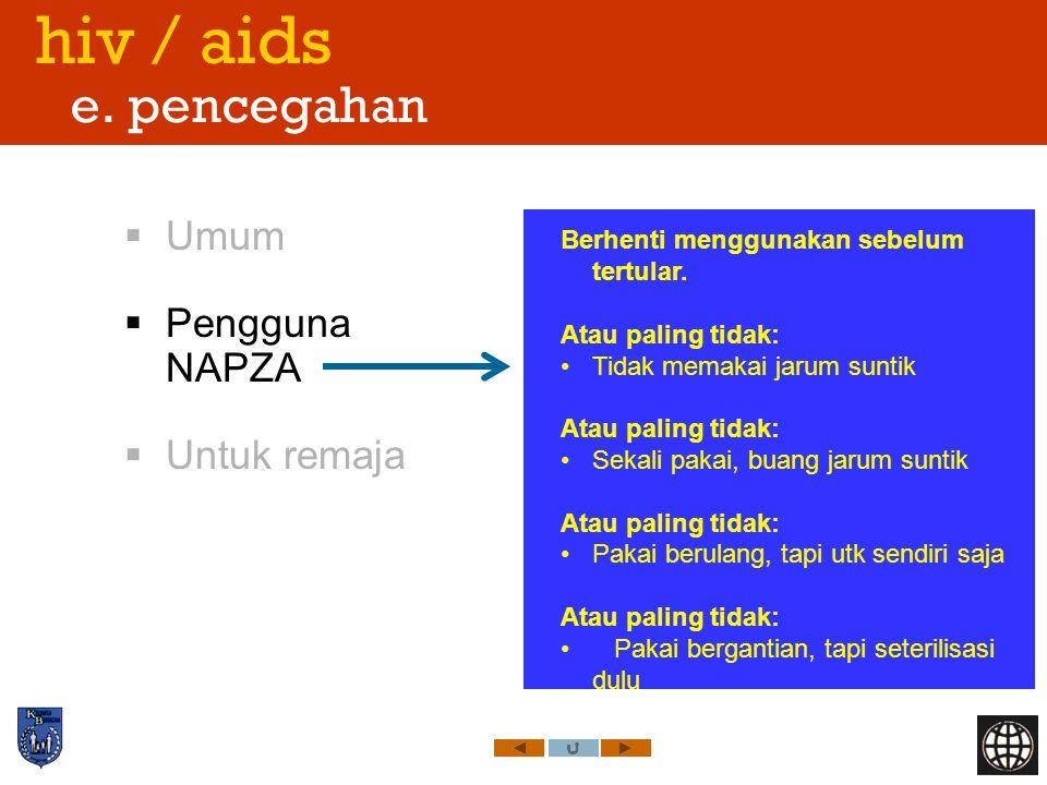 hiv / aids e. pencegahan Umum Pengguna NAPZA Untuk remaja
