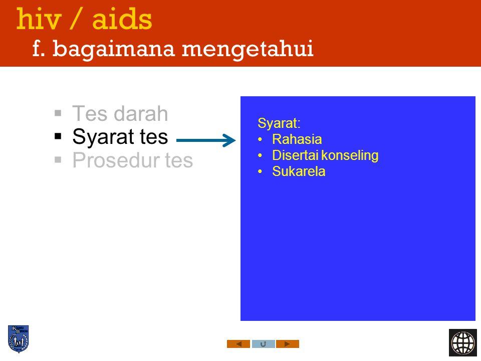 hiv / aids f. bagaimana mengetahui
