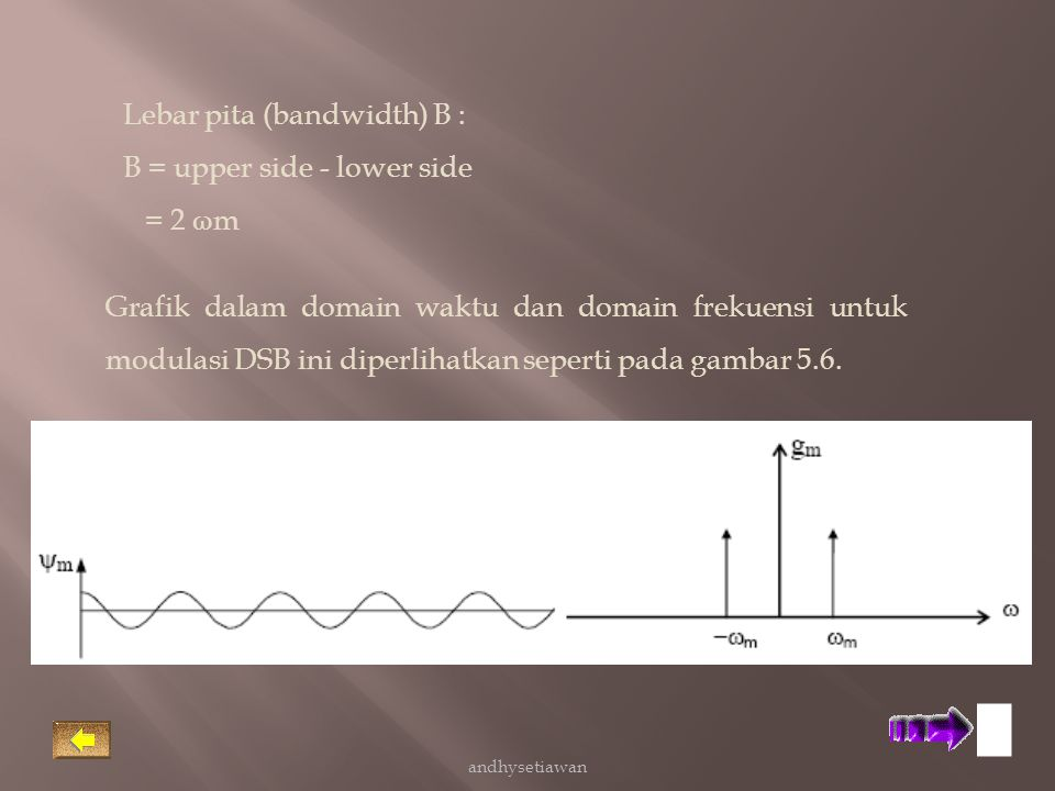 Lebar pita (bandwidth) B : B = upper side - lower side = 2 ωm