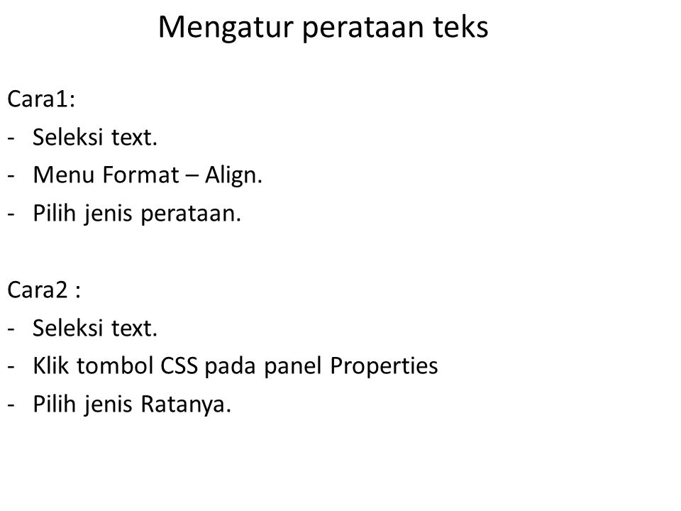 Mengatur perataan teks