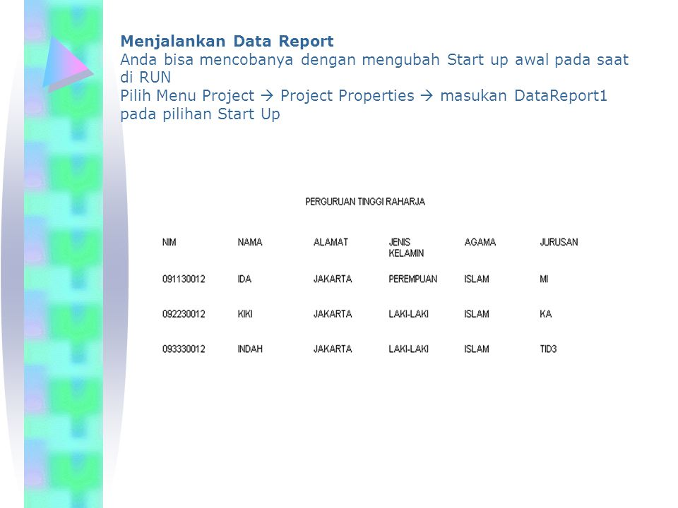 Menjalankan Data Report