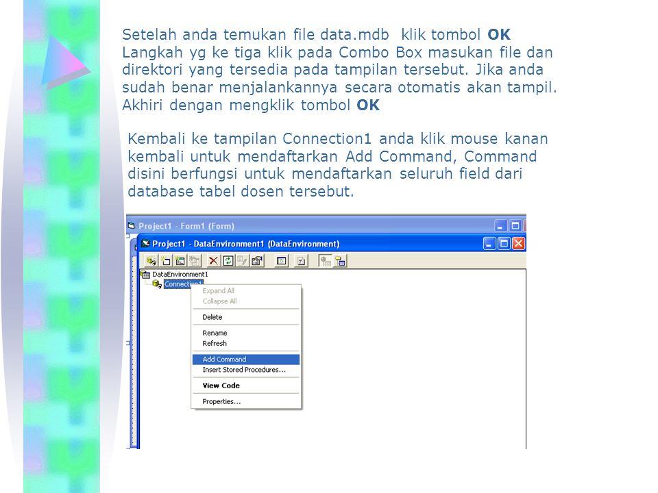 Setelah anda temukan file data.mdb klik tombol OK