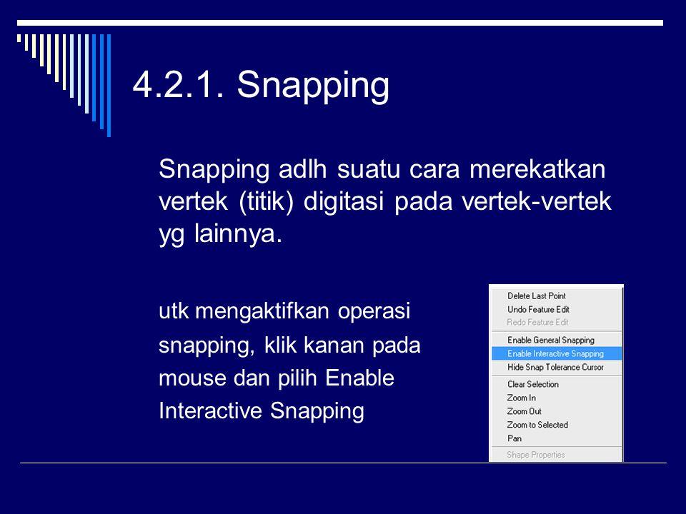 4.2.1. Snapping Snapping adlh suatu cara merekatkan vertek (titik) digitasi pada vertek-vertek yg lainnya.