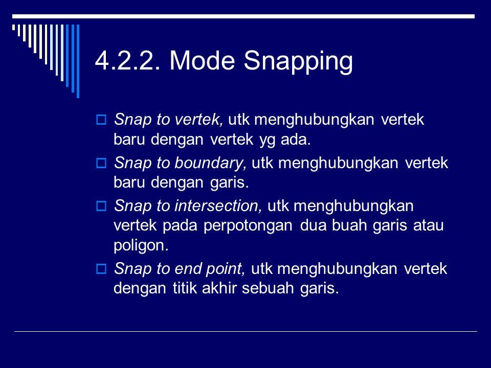 4.2.2. Mode Snapping Snap to vertek, utk menghubungkan vertek baru dengan vertek yg ada.