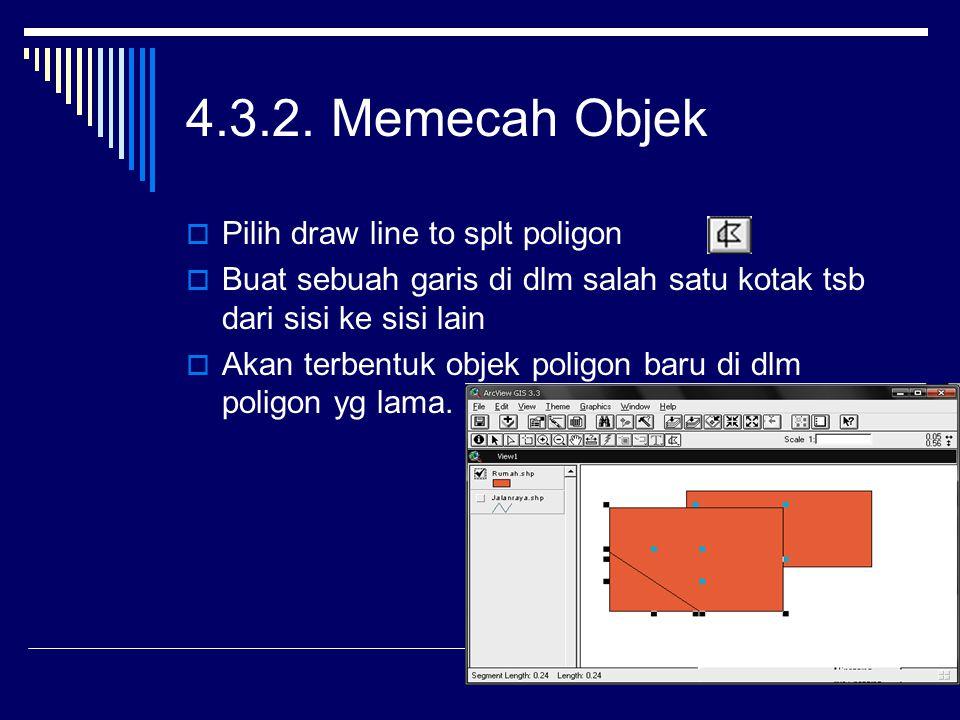 4.3.2. Memecah Objek Pilih draw line to splt poligon