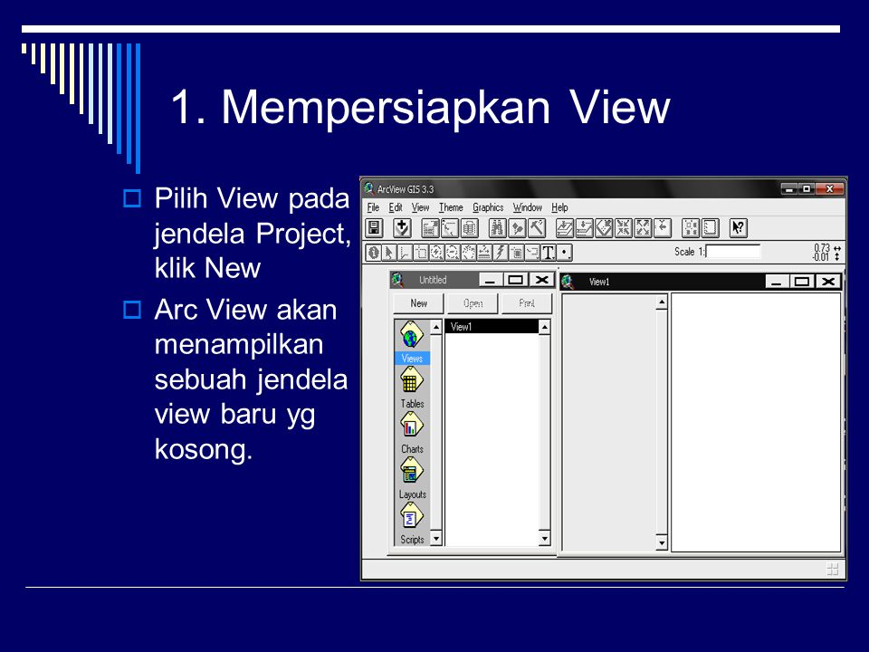 1. Mempersiapkan View Pilih View pada jendela Project, klik New