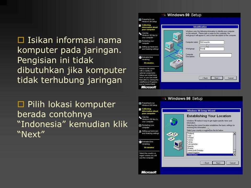 Isikan informasi nama komputer pada jaringan