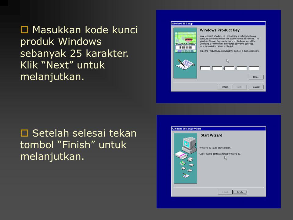 Masukkan kode kunci produk Windows sebanyak 25 karakter