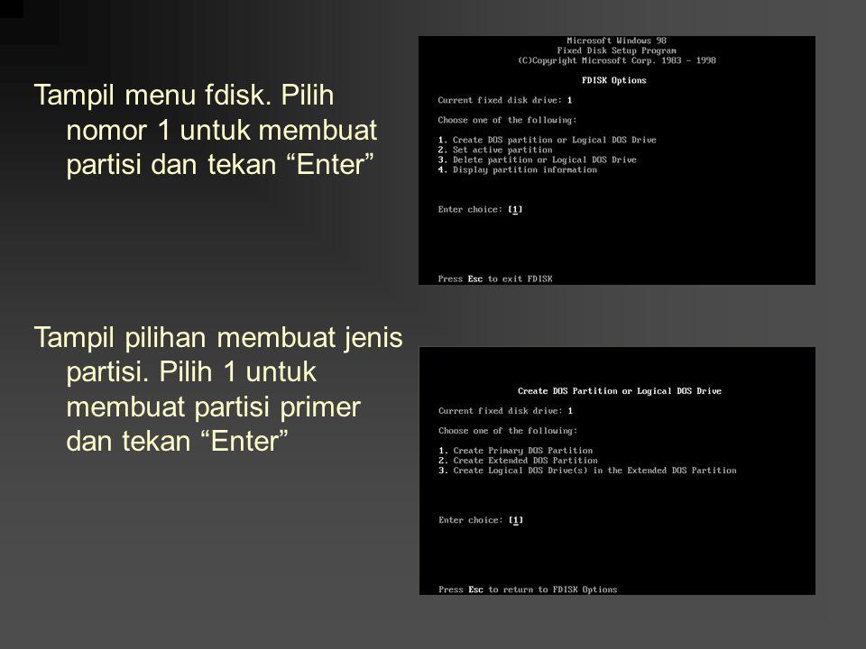 Tampil menu fdisk. Pilih nomor 1 untuk membuat partisi dan tekan Enter