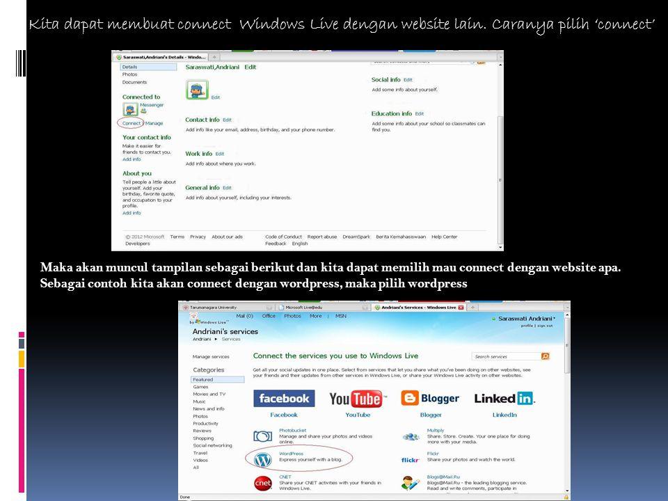 Kita dapat membuat connect Windows Live dengan website lain